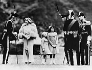 Princess Margaret Framed Prints - Queen Elizabeth Second From Left Framed Print by Everett