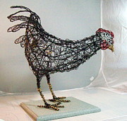 Hen Tapestries - Textiles - Queen Emma Barnyard Royalty by Charlene White