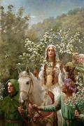 Guinevere Posters - Queen Guinevere Poster by John Collier