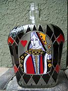 Hearts Glass Art - Queen if Hearts by Eileen Switzer