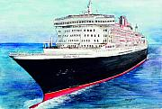 Ocean Liner Framed Prints - Queen Mary 2 Framed Print by Morgan Fitzsimons