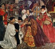 Kneeling Posters - Queen Mary and Princess Elizabeth entering London Poster by John Byam Liston Shaw