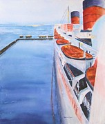 Queen Mary Paintings - Queen Mary from the Bridge by Debbie  Lewis