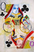 Playing Cards Framed Prints - Queen of Clubs 28-52  Framed Print by Cliff Spohn