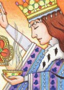 Cup Drawings - Queen of Clubs by Amy S Turner