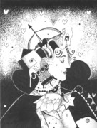 Feminine Drawings Originals - Queen of Hearts aka If She Only Had a Heart by Helena Tiainen