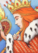 Lovers Drawings - Queen of Hearts by Amy S Turner