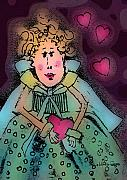 Whimsical Illustration Art - Queen Of Hearts by Arline Wagner