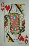 Playing Painting Originals - Queen Of Hearts by Robert Cunningham