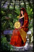 Abundance Digital Art Posters - Queen of Pentacles Poster by Tammy Wetzel