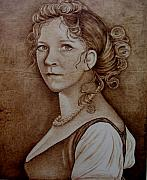 Sepia Pyrography Originals - Queen of Prussia by Jo Schwartz
