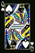 Casino Digital Art Prints - Queen of Spades - v2 Print by Wingsdomain Art and Photography