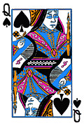Casino Digital Art Prints - Queen of Spades - v3 Print by Wingsdomain Art and Photography