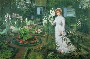 Walkway Prints - Queen of the Lilies Print by John Atkinson Grimshaw