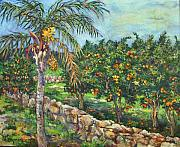 Queen Palm And Oranges Print by Lily Hymen