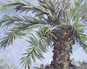 Fronds Paintings - Queen Palm by Sandy Tracey
