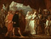 Historic Ship Painting Framed Prints - Queen Philippa Interceding for the Lives of the Burghers of Calais Framed Print by Benjamin West