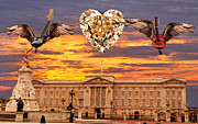Buckingham Palace Digital Art Metal Prints - Queen Rocks Metal Print by Eric Kempson