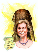 Spaniards Paintings - Queen Sofia by Ken Meyer jr