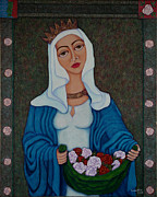 Madalena Lobao-tello Prints - Queen St Isabel - The miracle of the roses Print by Madalena Lobao-Tello