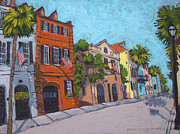 Charleston Houses Paintings - Queen Street by Detta Cutting Zimmermann