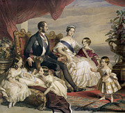 Royal Family Framed Prints - Queen Victoria and Prince Albert with Five of the Their Children Framed Print by Franz Xavier