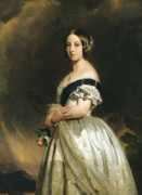 Monarch Painting Framed Prints - Queen Victoria Framed Print by Franz Xaver Winterhalter
