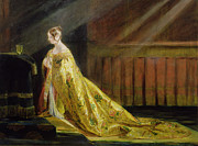 Golden Sunlight Paintings - Queen Victoria in Her Coronation Robe by Charles Robert Leslie