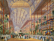 Fountain Framed Prints - Queen Victoria Opening the 1862 Exhibition after Crystal Palace moved to Sydenham Framed Print by Joseph Nash