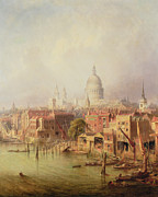 City Buildings Painting Posters - Queenhithe - St. Pauls in the distance Poster by F Lloyds