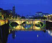 Reflection Of Buildings In Water Prints - Queens Street Bridge, River Liffey Print by The Irish Image Collection