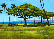 Oahu Painting Framed Prints - Queens Surf Weekend Framed Print by Douglas Simonson