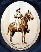 Cowboy Pyrography Originals - Queensland Drover by Karl Blatch