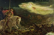 Man Painting Prints - Quest for the Holy Grail Print by Arthur Hughes