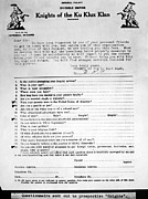 Race Discrimination Prints - Questionnaire Sent Out To Prospective Print by Everett