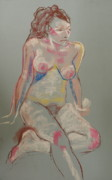 Seated Nude Drawing Prints - Quick pastel nude Print by Joanne Claxton