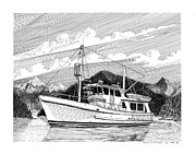 Marine Drawings Posters - Quiet Anchorage Poster by Jack Pumphrey