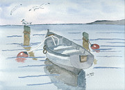 Life Greeting Cards Painting Originals - Quiet Bay by Eva Ason