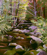 Rambling Framed Prints - Quiet Brook Framed Print by Nancy Griswold