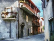 Balcony Digital Art Posters - Quiet in Almenno San Salvatore Poster by Jeff Kolker