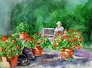 Red Geranium Posters - Quiet Moment Reading In The Garden Poster by Irina Sztukowski