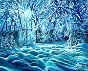 Snow-covered Landscape Painting Posters - Quiet of Winter Poster by Suzanne King
