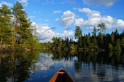 Canoe Framed Prints - Quiet Paddle Framed Print by Larry Ricker