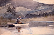 Trout Paintings - Quiet pool on a sunny day by Pg Reproductions