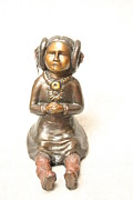 Bronze Sculpture Originals Reliefs - Quiet Praise front view by Tomi LaPierre