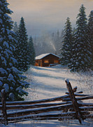 Split Rail Fence Painting Prints - Quiet Refuge Print by Jake Vandenbrink