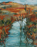 Reeds Painting Originals - Quiet Stream by Sandy Tracey