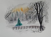 Christmas Greeting Originals - Quiet Winter Day by Alla Dickson