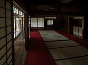 Sliding Doors Prints - QUIETUDE of ZEN MEDITATION ROOM - KYOTO JAPAN Print by Daniel Hagerman