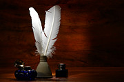 Calligraphy Photo Prints - Quills and Inkwells Print by Olivier Le Queinec